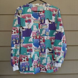Vintage Animal Scrub Top Long Sleeve Small